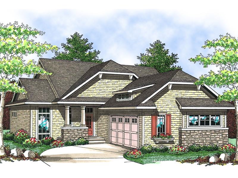 Charming Craftsman Details Decorate This One-Level Design
