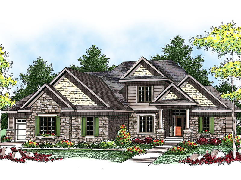 Striking craftsman style two story house with stone accents