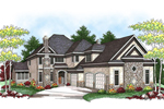 Large European Influenced Two-Story With Stone Accents