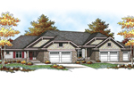 Craftsman Style Multi-Family Plan With Hip Roof Design