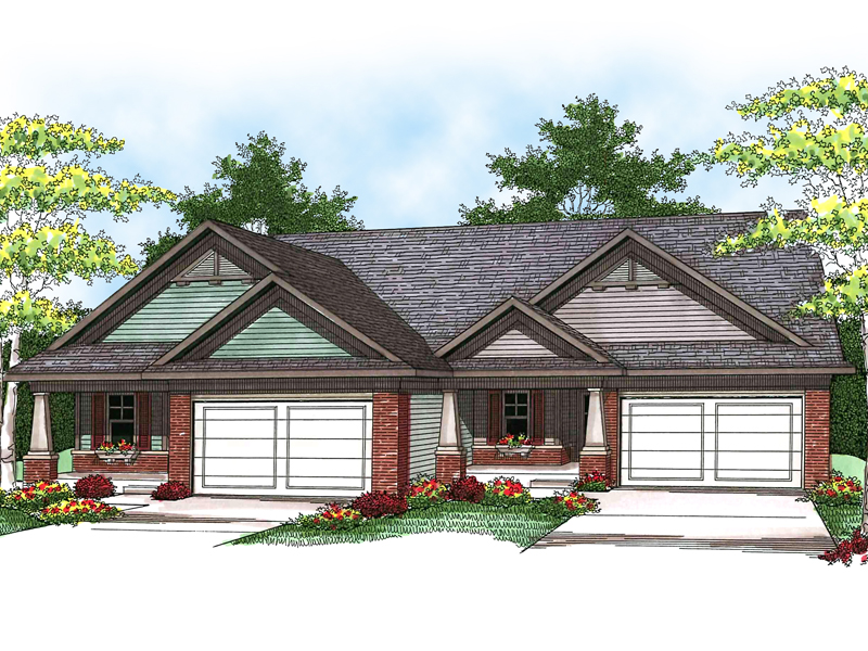 Forrester creek ranch duplex plan 051d 0592 house plans Ranch style duplex plans