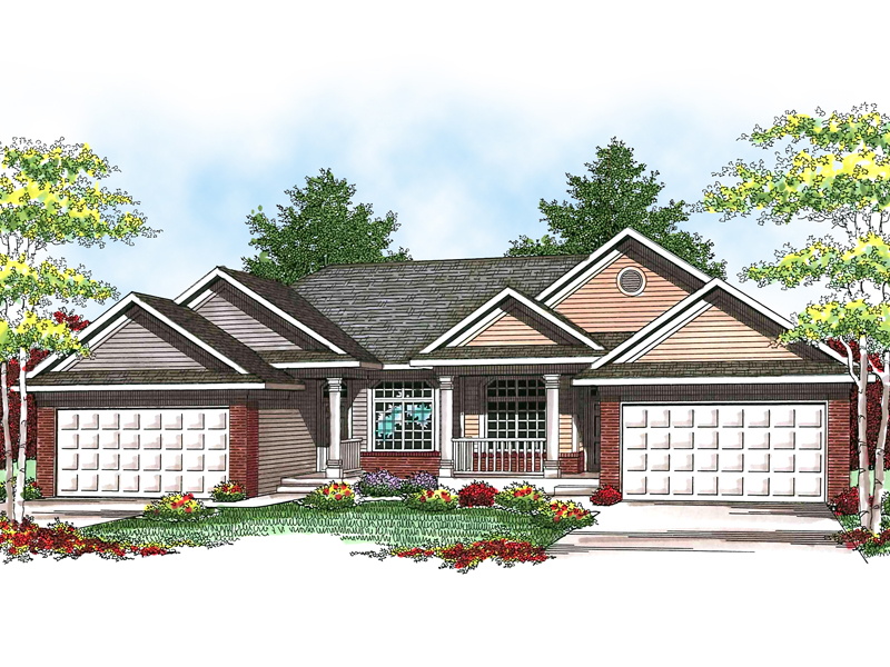 Traditional House Plan Front of Home 051D-0593