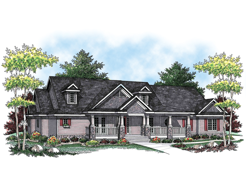 Ranch House Plan Front of Home - 051D-0602 | House Plans and More