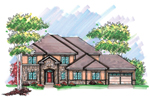 Country French Home Plan Front of Home - 051D-0605 | House Plans and More
