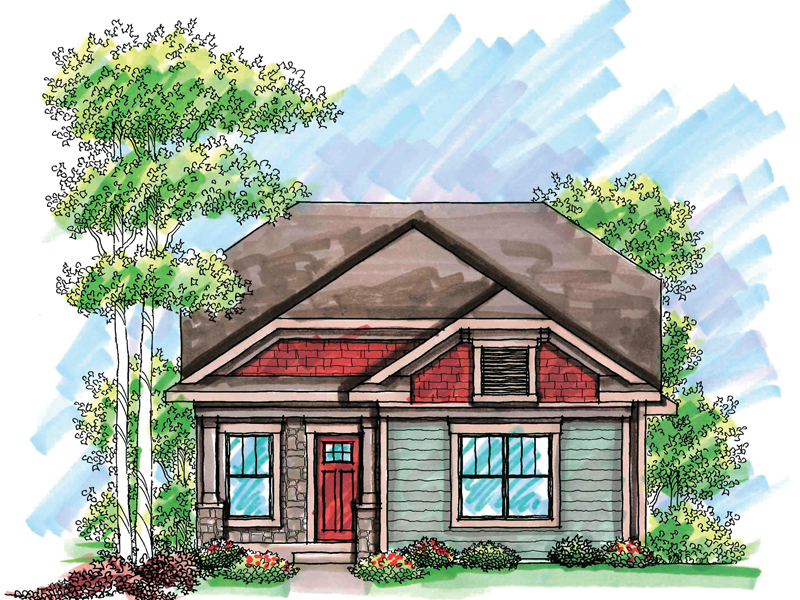 Ranch House Plan Front of Home - 051D-0606 | House Plans and More