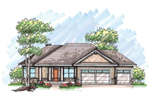 Ranch House Plan Front of Home - 051D-0617 | House Plans and More