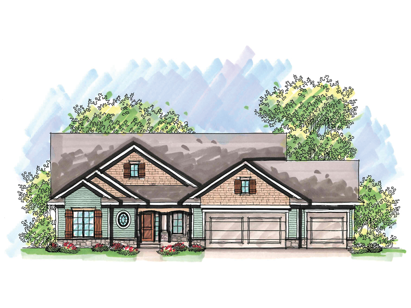 Ranch House Plan Front of Home - 051D-0619 | House Plans and More