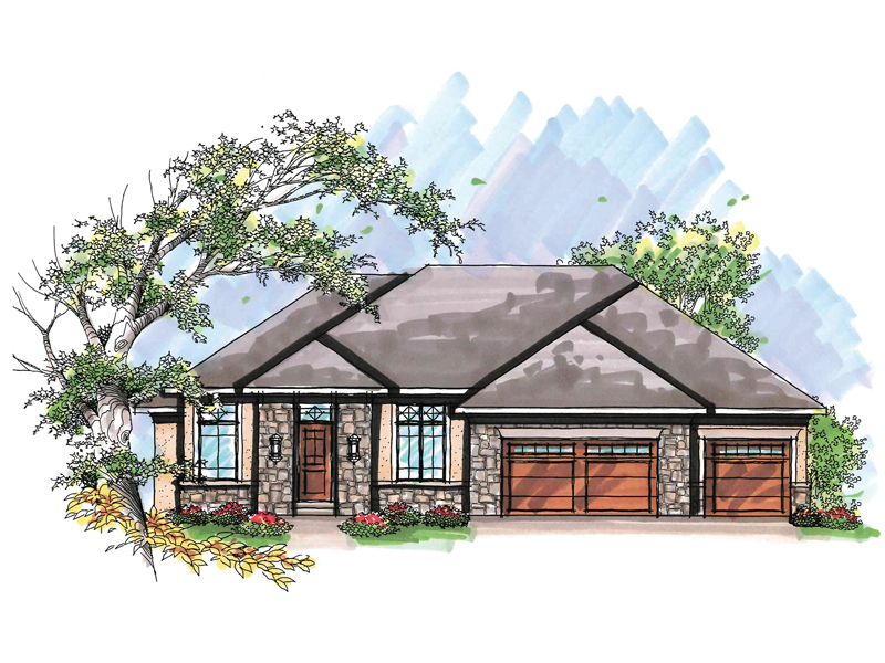 Ranch House Plan Front of Home - 051D-0620 | House Plans and More