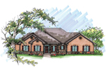 Ranch House Plan Front of Home - 051D-0621 | House Plans and More