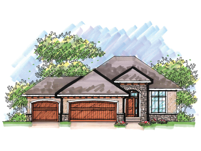 Ranch House Plan Front of Home - 051D-0624 | House Plans and More