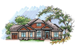 Ranch House Plan Front of Home - 051D-0625 | House Plans and More