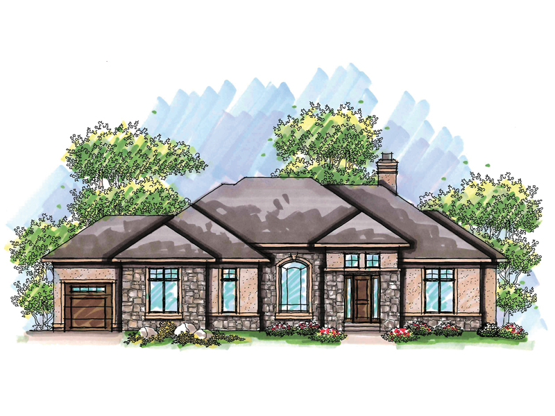 Ranch House Plan Front of Home 051D-0626