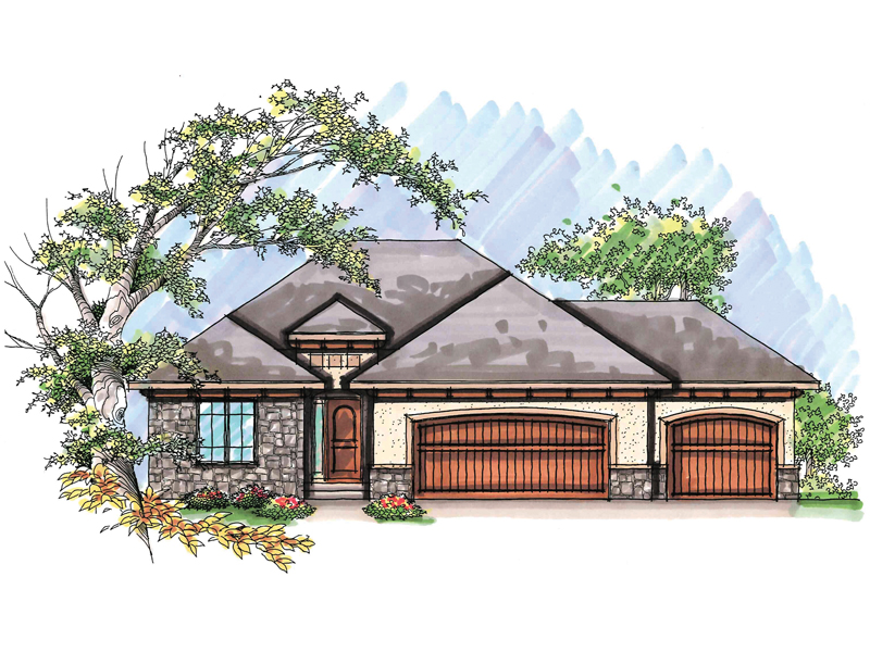 Ranch House Plan Front of Home - 051D-0629 | House Plans and More