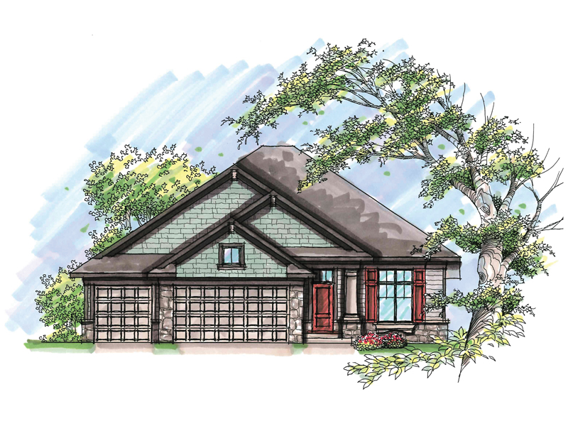 Ranch House Plan Front of Home - 051D-0640 | House Plans and More