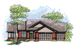 Ranch House Plan Front of Home - 051D-0643 | House Plans and More