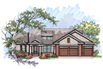 Ranch House Plan Front of Home - 051D-0647 | House Plans and More