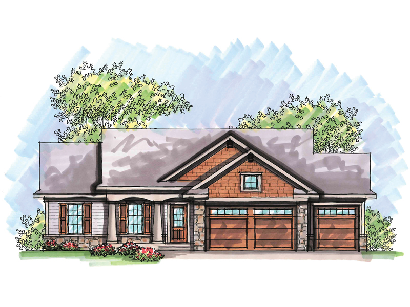 Ranch House Plan Front of Home - 051D-0648 | House Plans and More