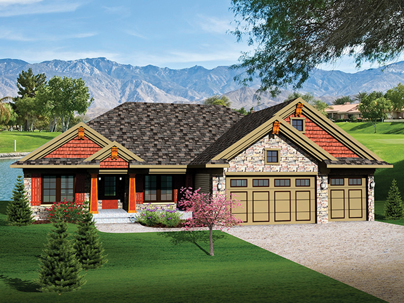 Ranch House Plan Front of Home - 051D-0652 | House Plans and More