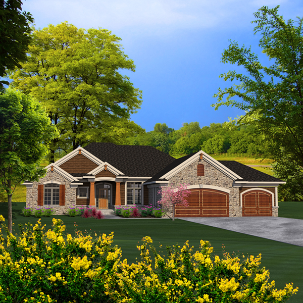 Briton rustic craftsman home plan 051d 0787 house plans for Open concept craftsman house plans