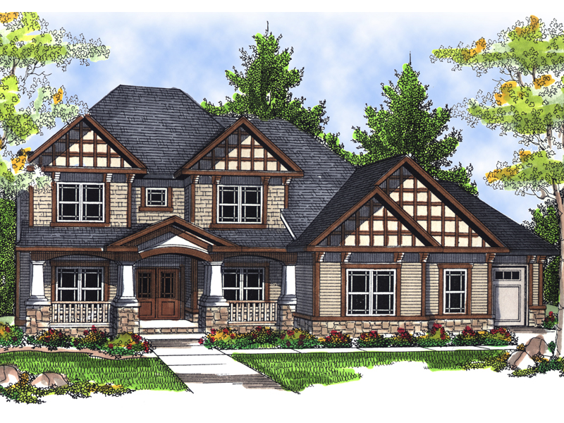 Grand Tudor Two-Story With Impressive Wood Trim Details