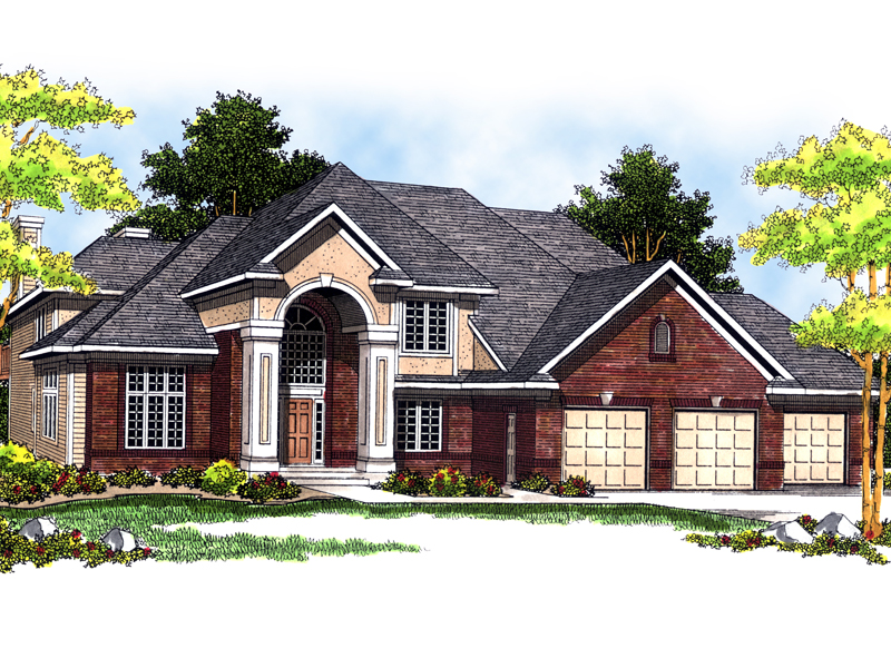 Grand Two-Story Home With Stucco Accenting The Front Entry