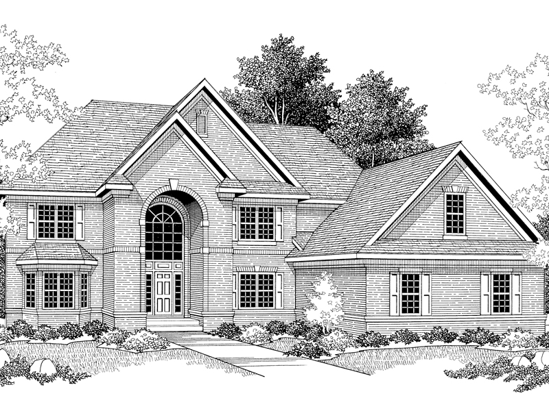 Elegant colonial house plans traditional brick 5 bedroom 5 for Luxury brick house plans