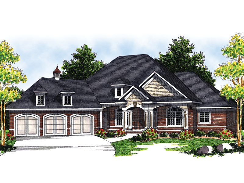Marmande luxury ranch style home plan 051s 0048 house for Ranch style house with garage