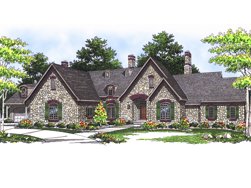 stone covered luxury european style ranch house - European House Plans