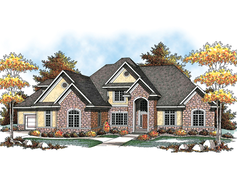 Traditional Two-Story House With Brick Accents