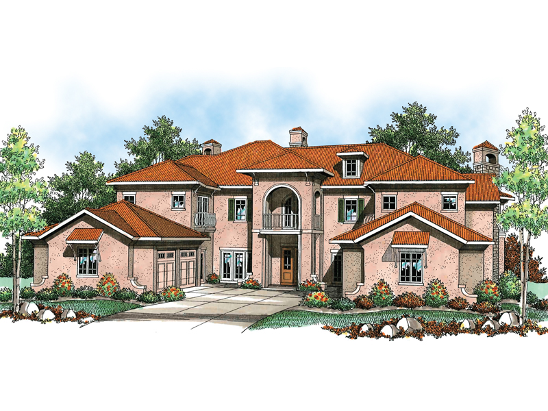 Mediterranean Style Mansion With Clay Tile Roof