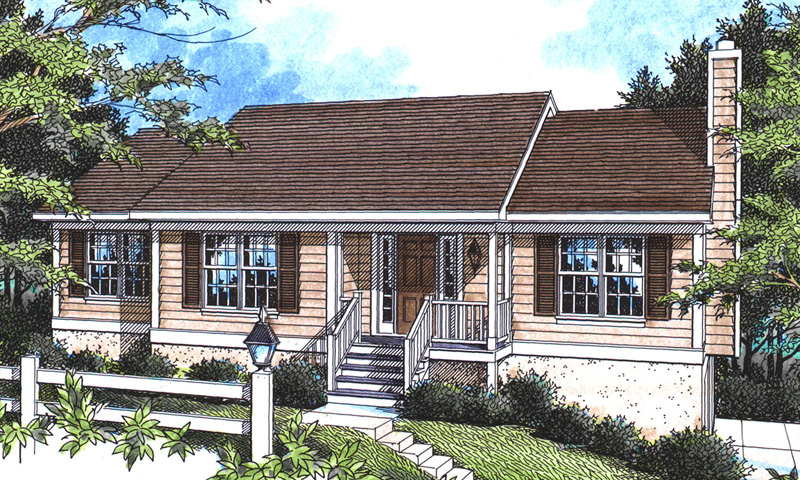 Traditional House Plan Front of Home 052D-0001