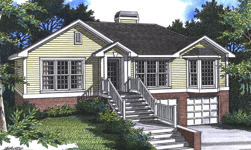 Traditional Style Home With Bay Window And Drive-Under Garage