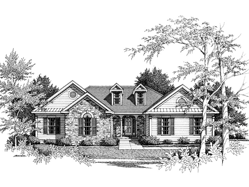 Traditional House Plan Front Image of House - 052D-0030 | House Plans and More
