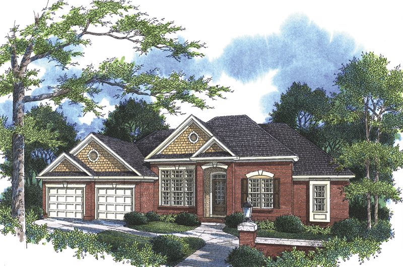 Traditional Ranch Home With Shingle Sided Gables
