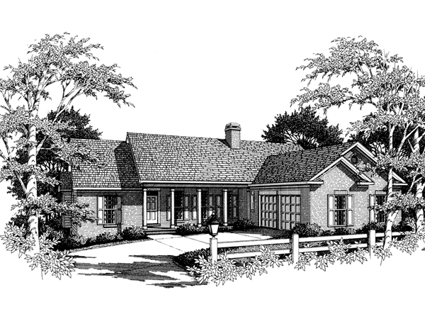 Dugan traditional ranch home plan 052d 0065 house plans for L shaped ranch homes