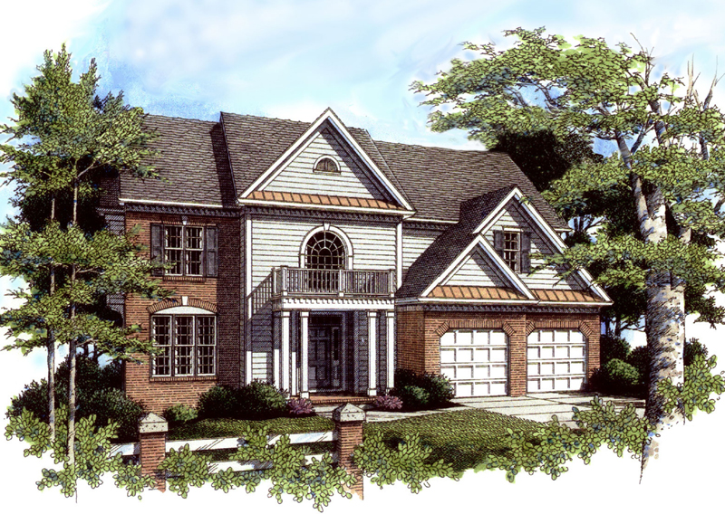 Two-Story With Front Balcony Porch And Arched Window Above
