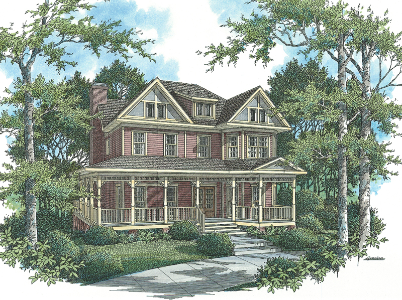 Southern Farmhouse Style Two-Story Is Symmetrically Pleasing