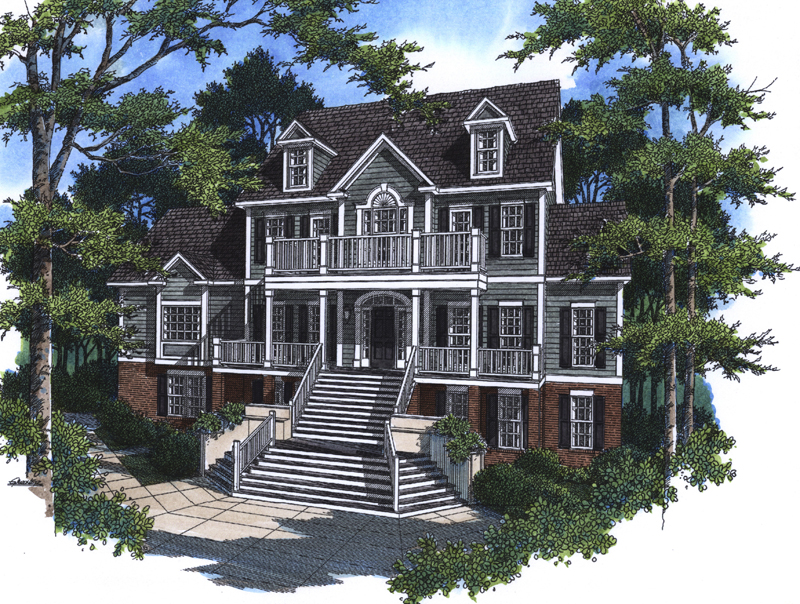 Two Story Southern Plantation House With Grand Front Staircase Gallery