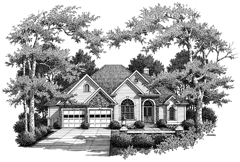 Ranch House Plan Front of Home - 052D-0103 | House Plans and More