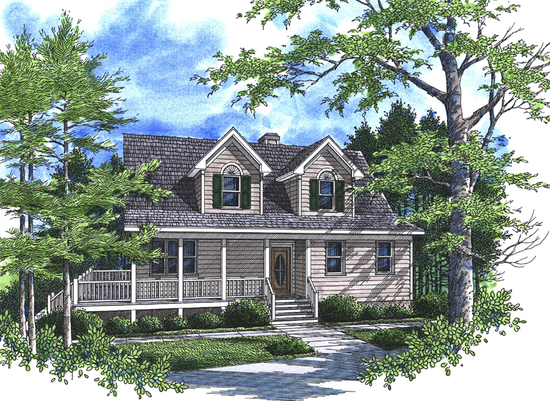 Cape Cod and New England Plan Front of Home 052D-0104