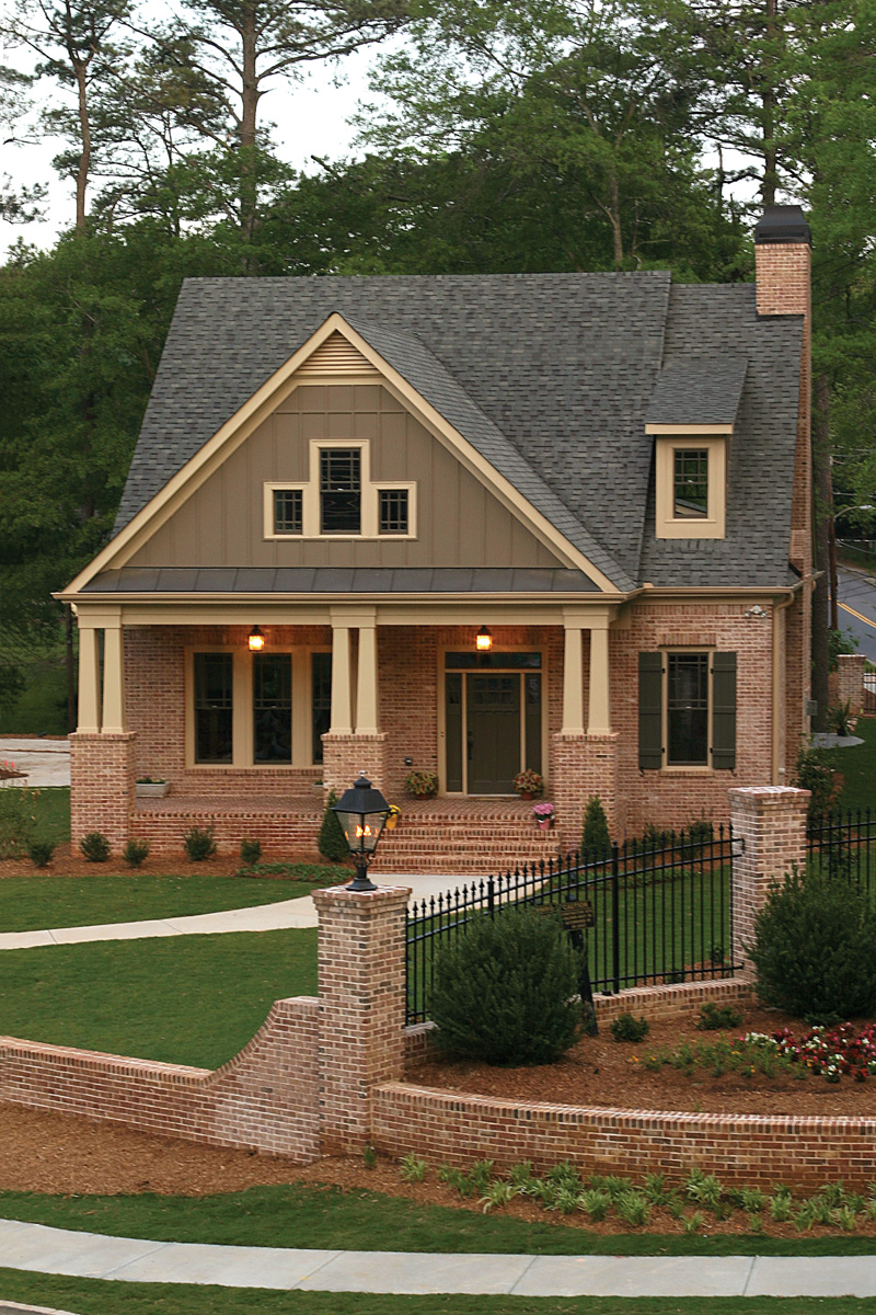 green trace craftsman home house plan - Brick A Frame House Plans
