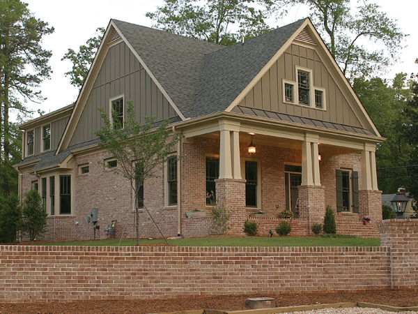 Green trace craftsman home plan 052d 0121 house plans Brick craftsman house