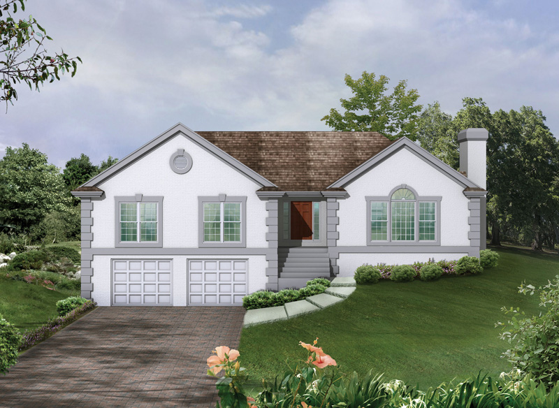 Ranch House Plan Front of Home 053D-0004