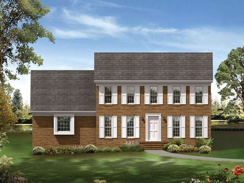 Colonial House Plan Front of Home 053D-0010