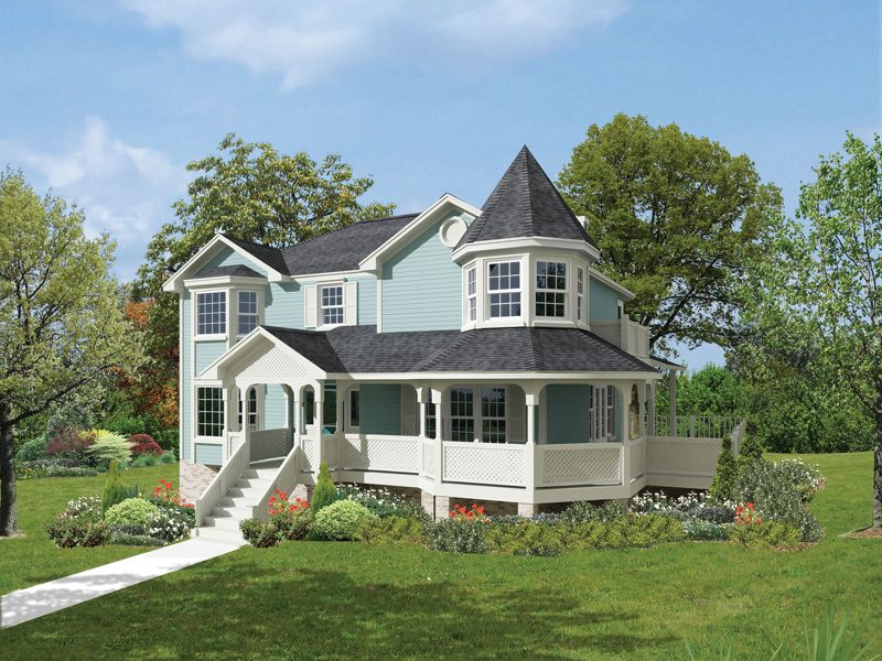 Victorian House Plan Front of Home 053D-0015
