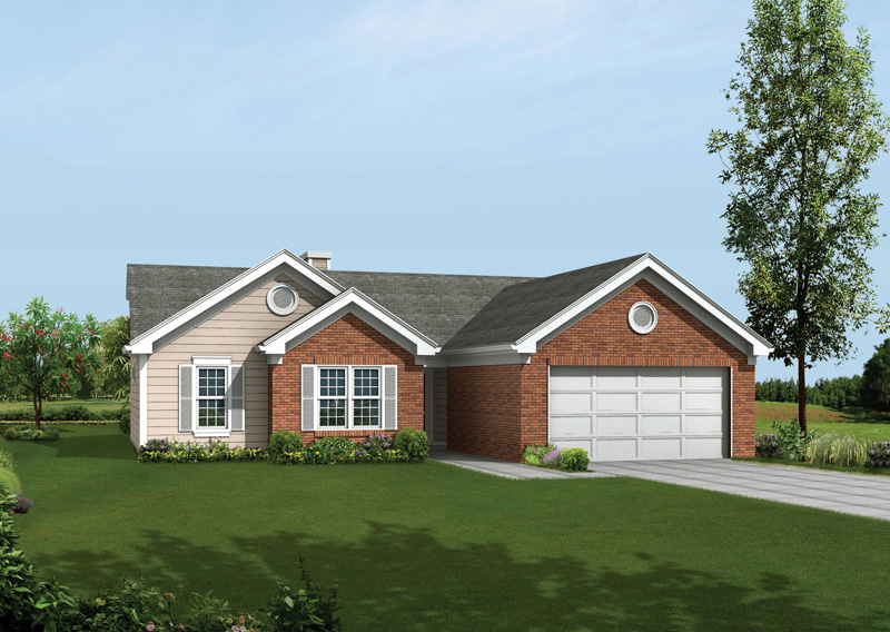 Ranch House Plan Front of Home 053D-0037