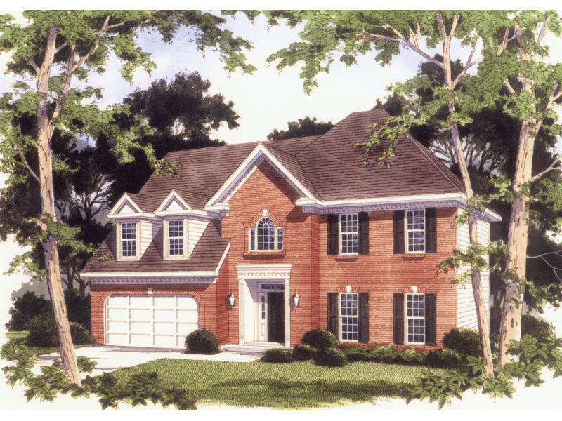 Colonial House Plan Front of Home 053D-0038