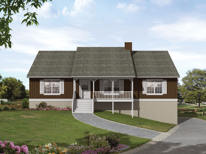 Ranch House Plan Front of Home 053D-0041