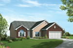 Traditional Ranch Style Home With Front Loading Garage And Brick