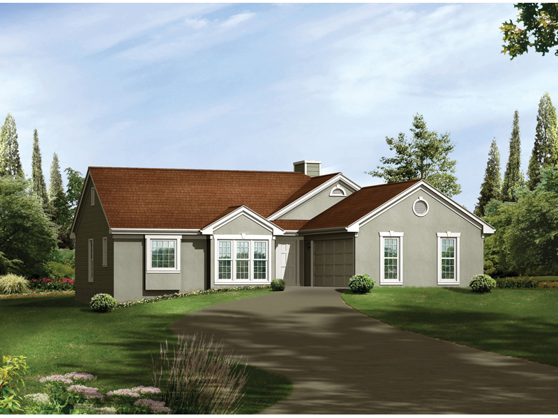 Ranch House Plan Front of Home - 053D-0047 | House Plans and More